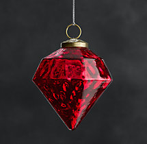 Vintage Handblown Glass Ornament Octagon - Red