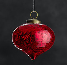 Vintage Handblown Glass Onion Ornament - Red