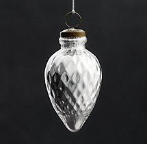 Vintage Handblown Glass Ornament Spindle - Silver