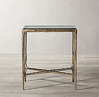 Thaddeus Forged Brass Amp Glass Square Side Table
