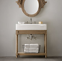 Weathered Oak Single Console Washstand