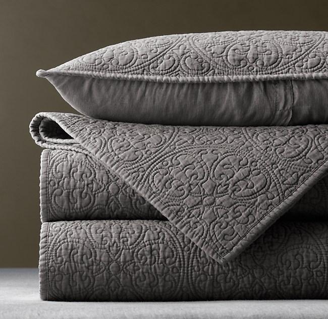 Vintage Washed Belgian Linen Quilt King Sham