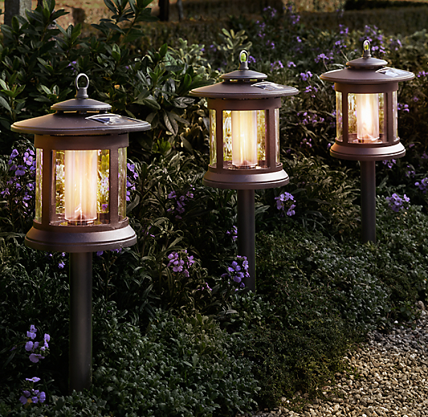 Solar Rechargeable Batteries >> Solar Round Path Lights Set of 4