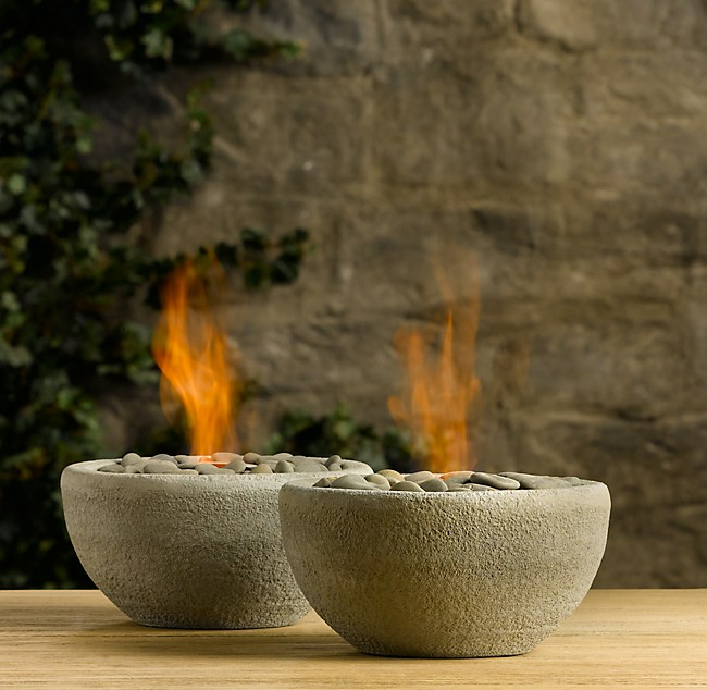 Rock Fire Bowl Tabletop - Concrete outdoor fireplace river rock fire bowl from restoration hardware