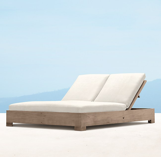 Belvedere Double Chaise Weathered Teak