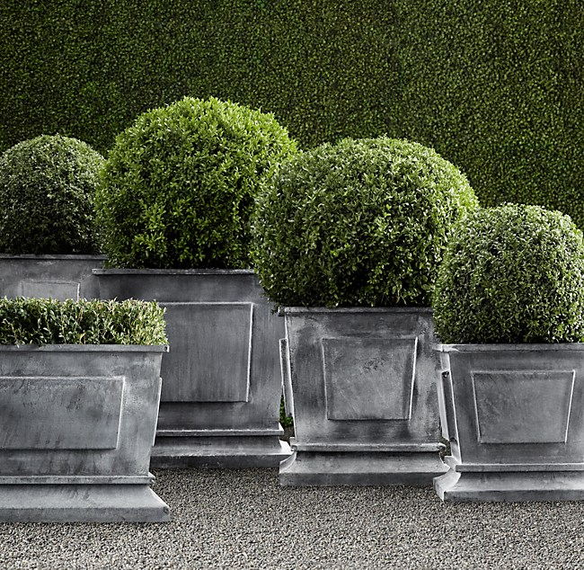 Estate Zinc Paneled Planters - Weathered Zinc on square aluminum planters, square iron planters, square stone planters, square brass planters, square outdoor planters, square tin planters, square terracotta planters, square fiberglass planters, square lead planters, square plastic planters, square white planters, square garden planters,