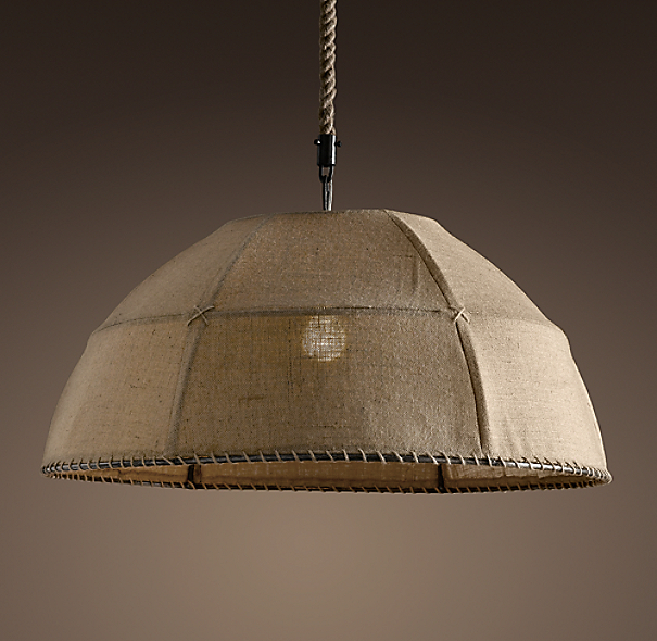 Restoration Hardware Hanging Lamps: Burlap Dome Pendant