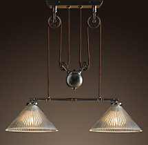 Industrial Pulley Double Pendant
