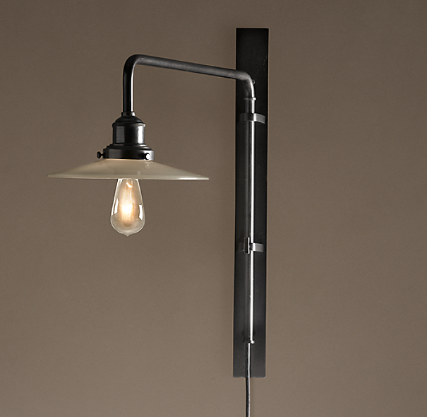 Circa 1900 Train Station Swing Arm Sconce