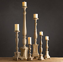Florentine Carved Wood Candlesticks Natural