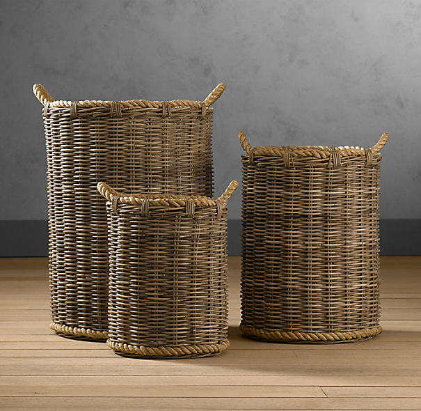 Handwoven rattan baskets for Bathroom accessories baskets