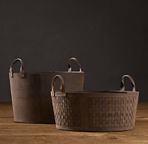 Leather Magazine Storage Tote