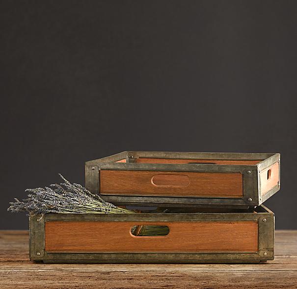 Restoration Hardware Address: Mailroom Wood And Metal Tray