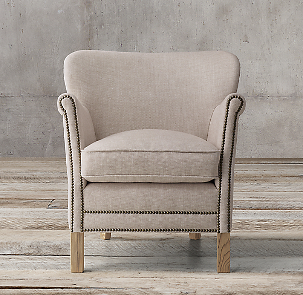 professor's upholstered chair with nailheads