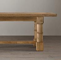 Salvaged Wood Gun Barrel Rectangular Extension Dining Table