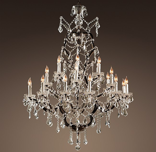 19th C Rococo Iron Amp Clear Crystal Round Chandelier 40 Quot