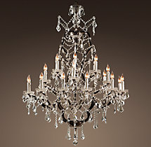 19th C. Rococo Iron & Clear Crystal Round Chandelier 40""