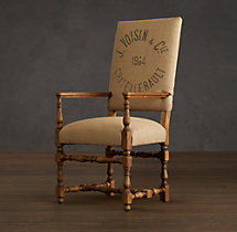 1890 English Baroque Printed Burlap Armchair