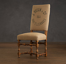 1890 English Baroque Printed Burlap Side Chair