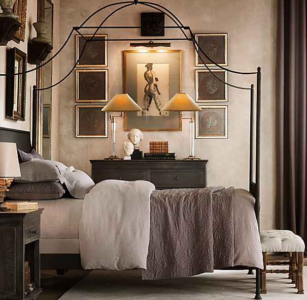 Metallic Masculine Bedroom: French Column Glass Swing-Arm Table Lamp