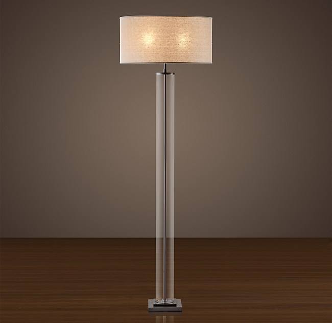 - French Column Glass Floor Lamp