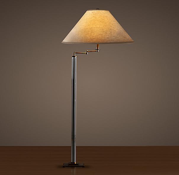 French Column Glass Swing Arm Floor Lamp