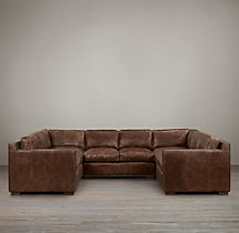 Preconfigured Collins Leather U-Sofa Sectional With Nailheads