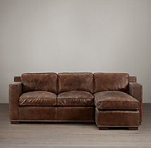 Preconfigured Collins Leather Right-Arm Chaise Sectional With Nailheads