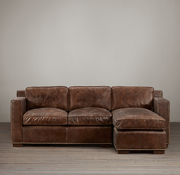Preconfigured Collins Leather Right Arm Chaise Sectional