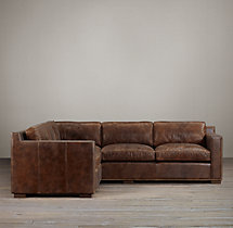 Preconfigured Collins Leather Corner Sectional With Nailheads