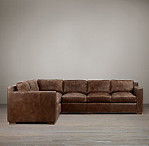 Preconfigured Collins Leather L-Sectional With Nailheads