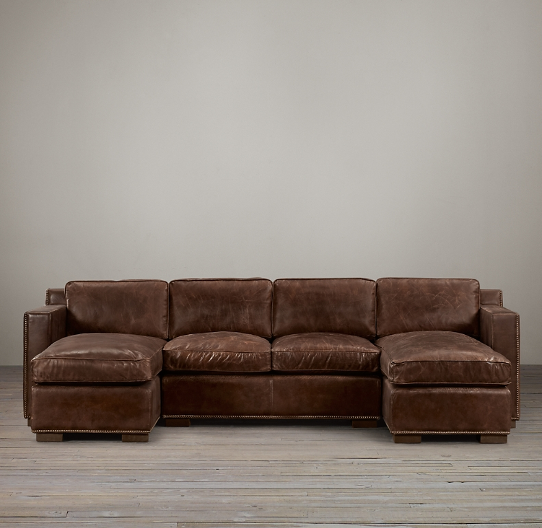 Leather U Chaise Sectional With Nailheads