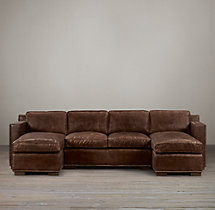 Preconfigured Collins Leather U-Chaise Sectional With Nailheads