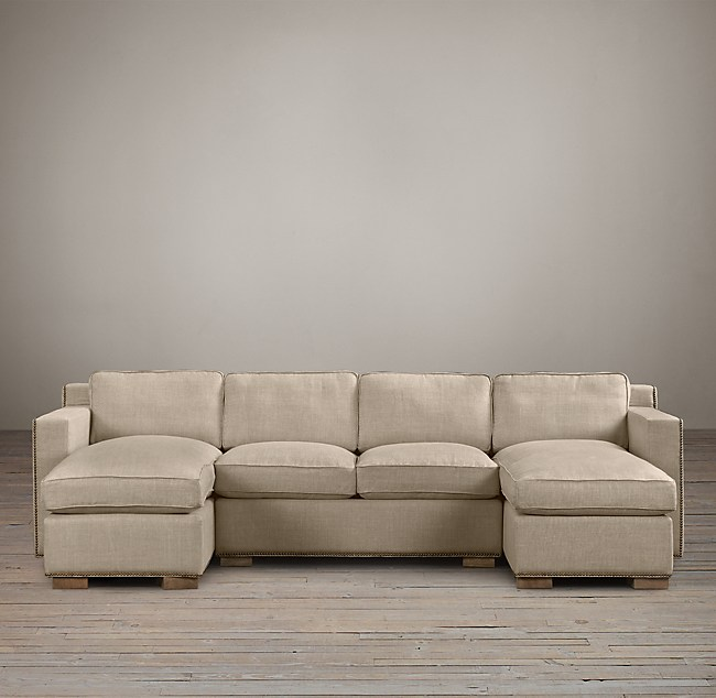 Preconfigured Collins U Chaise Sectional With Nailheads