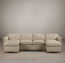 Preconfigured Collins Upholstered U-Chaise Sectional With Nailheads