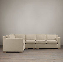 Preconfigured Collins Upholstered L-Sectional With Nailheads