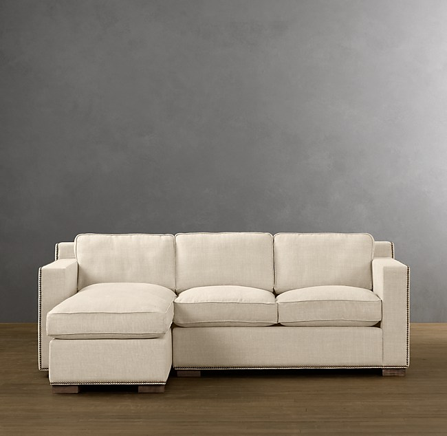 Preconfigured Collins Left-Arm Sofa Chaise Sectional With Nailheads