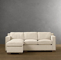 Preconfigured Collins Upholstered Left-Arm Chaise Sectional With Nailheads