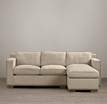 Collins Upholstered Right-Arm Chaise Sectional With Nailheads