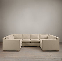 Preconfigured Collins Upholstered U-Sofa Sectional With Nailheads