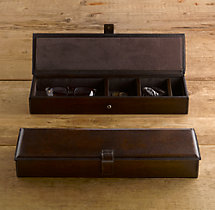 Artisan Leather Desk Box - Chocolate