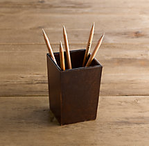 Artisan Leather Pencil Cup - Chocolate