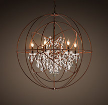 Foucault's Twin-Orb Clear Crystal Chandelier 41""