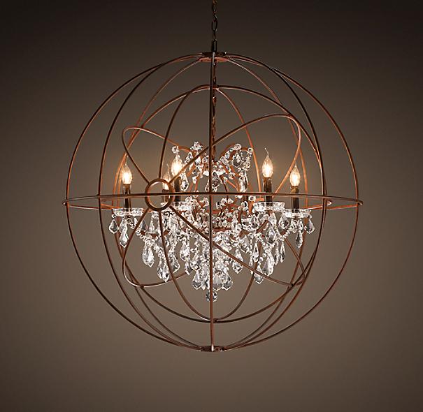 "Restoration Hardware Lighting Orb: Foucault's Twin-Orb Clear Crystal Chandelier 41"""