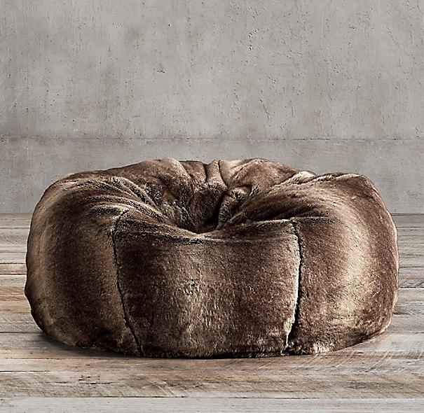 Luxe Faux Fur Bean Bag Mink