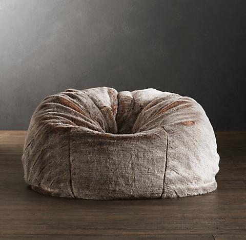 furry bean bag chair Luxe Faux Fur Bean Bag Collection | RH furry bean bag chair