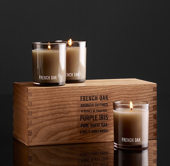 French Oak Filled Candles Set Of 3