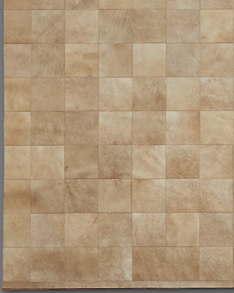 South American Cowhide Tile Rug - Sand