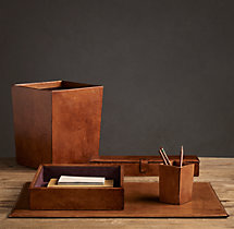 Artisan Leather Desk Accessories - Chestnut