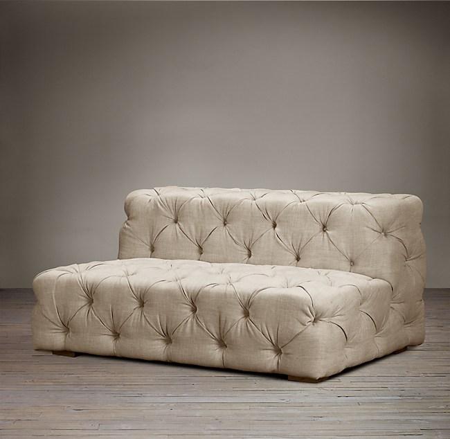 5 Soho Tufted Upholstered Armless Sofa